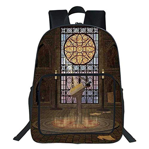 Gothic School Backpack,Lectern on Pentagram Symbol Medieval Architecture Candlelight in Dark Spell Altar For Teens Girls Boys ,11.8