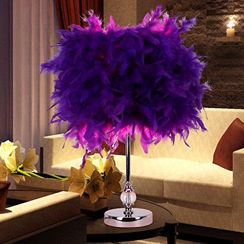 Injuicy Lighting Colourful Feather Shade Metal Vintage Antique Elegant Table Lamp Bedside Desk Light Home (Purple)