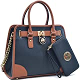 Fashion Pad-lock Satchel handbags with wallet~Designer Purse for Women ~Multi Pocket ~ Perfect Women Purse and wallet~ Beautiful Designer Handbag Set by MMK Collection purse (02-6892(01-168)BK)