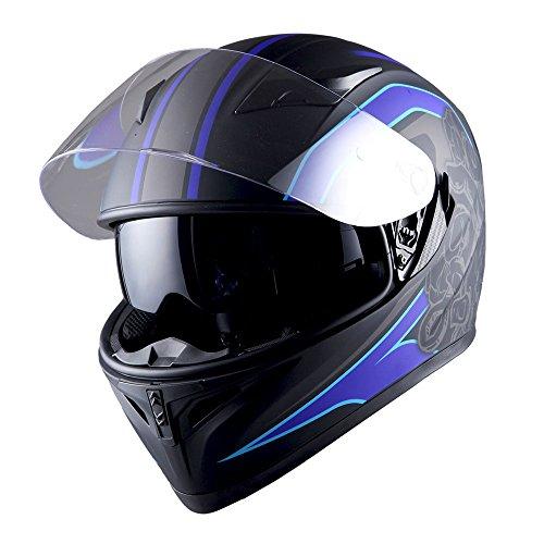 1STorm Motorcycle Street Bike Dual Visor/Sun Visor Full Face Helmet Mechanic Matt Blue, Size Medium (55-56 CM,21.7/22.0 Inch)