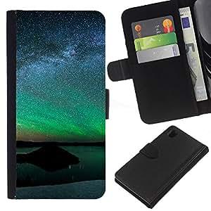 """A-type (Aurora Paisaje"""") Colorida Impresión Funda Cuero Monedero Caja Bolsa Cubierta Caja Piel Card Slots Para Sony Xperia Z1 L39"""