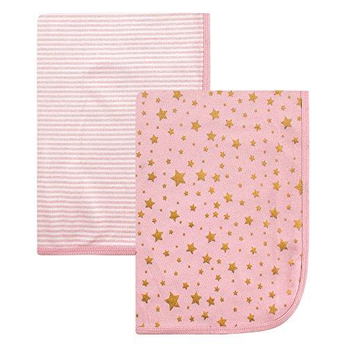 Hudson Baby 2 Piece Interlock Cotton Swaddle Blanket, Gold S