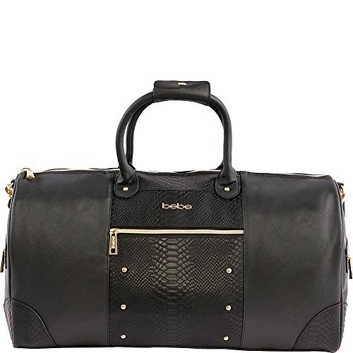 (BEBE Ellisa Weekend Travel Bag for Women, Black Croc One Size)