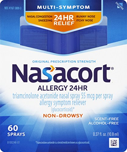 Nasacort Allergy 24 Hour Nasal Spray, 60 Sprays (0.37 fl. oz), Provides Relief for Allergy Symptoms Including Nasal Congestion, Sneezing, Runny Nose, Itchy Nose, Alcohol and Scent Free Nasal - Spray Allergy Nose
