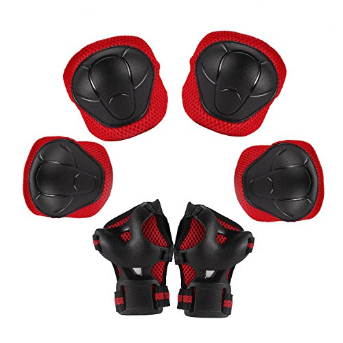 Benlet 3 IN 1 Sport Protective Gear Safety Shockproof Pad Safeguard Knee Elbow Wrist Support Pad Set(Red-1, S)