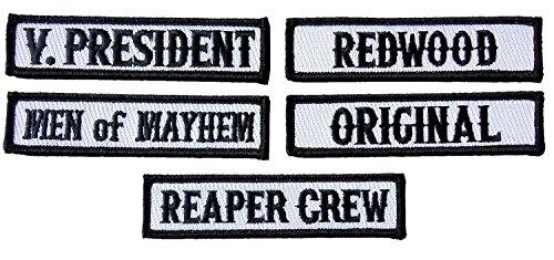 (Officer Title Rank Vest Patches VP MC Biker Club Patch Set (5pc-Iron)