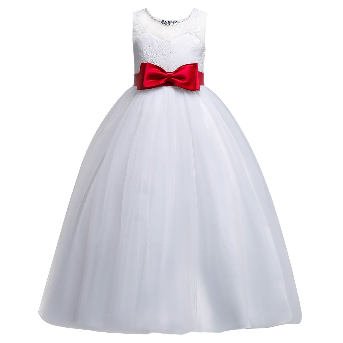 IBTOM CASTLE Little Big Girl Tulle Lace Pageant Flower Wedding Dress Floor Length Long Party Formal Dance Gown