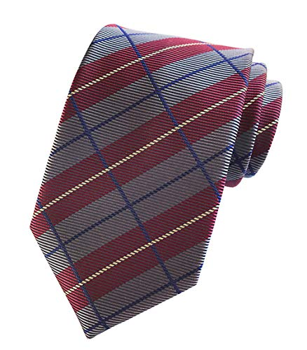MENDENG New Classic Plaids Check Dark Red Jacquard Woven Silk Men's Tie Necktie