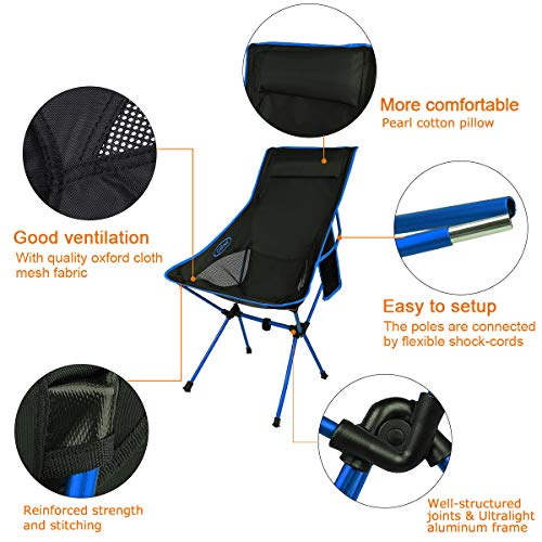 G4Free Lightweight Portable Chair Outdoor Folding Backpacking Camping Lounge Chairs for Sports Picnic Beach Hiking Fishing (Dark Blue)