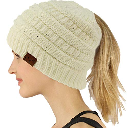 - CC Ponytail Messy Bun BeanieTail Soft Winter Knit Stretchy Beanie Hat Cap Sequins Ivory