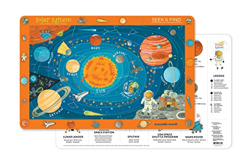 (Crocodile Creek 2827-4 Solar System 2-Sided Placemat, Blue/Orange/Red/Yellow)