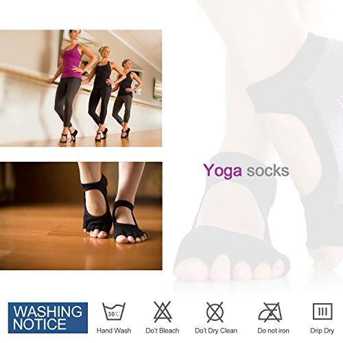 Ballet Yoga Socks, Dancing Yoga Pilates Socks with Grips Cotton Pilates Barre Gym Fitness Sports Women Non slip Dance Socks for Fintness Yoga Socks (Black)