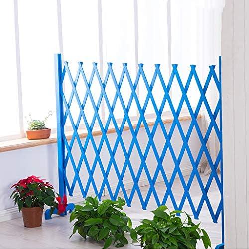 庭のフェンスの装飾屋外大 多機能中庭のフェンス屋外の庭の仕切りフェンスフェンス登山フレーム、木製の柵中庭の装飾菜園小さなフェンス 木製の折りたたみ式フェンス (Color : Blue, Size : 35cm)