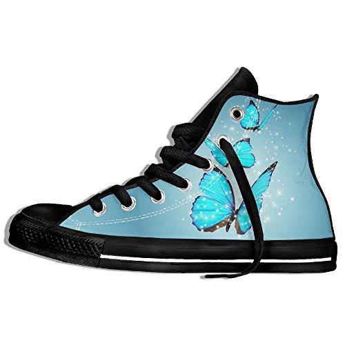 Classiche Sneakers Alte Scarpe Di Tela Anti-skid Sky Blue Butterfly Casual Da Passeggio Per Uomo Donna Nero