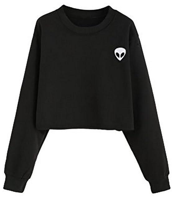 Lannorn Niñas adolescentes Impresión extranjera Sudadera con capucha de manga larga Blusa jersey Sudadera con capucha Estilo Dos.