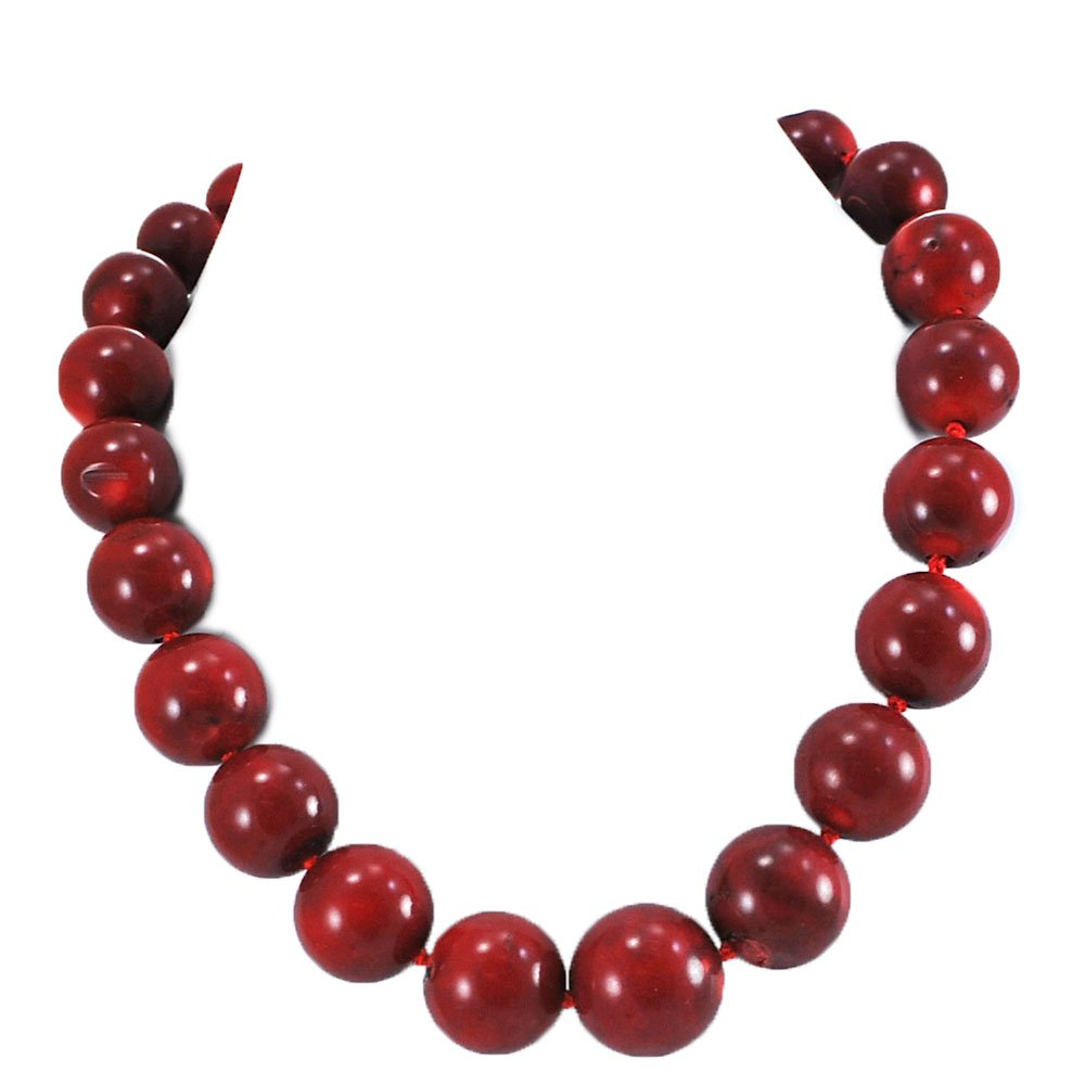 Ny6design 008 Red Coral Beads Hand Knotted Long Necklace w Silver Plated Clasp 20'' N5071626gg