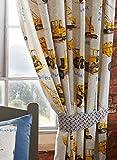 Kidz Club Dumper Trucks/Diggers/Crane/Bull Dozer Kids Lined Curtains Set, Yellow, 66 x 72-Inch by Kidz Club