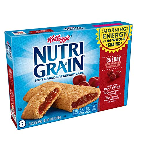 (Kellogg's Nutri-Grain, Soft Baked Breakfast Bars, Cherry, Made with Whole Grain, 10.4 oz (8 Count))