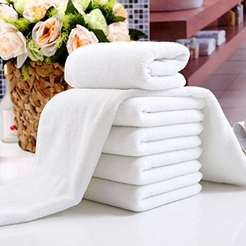 shlutesoy White Soft Microfiber Hand Face Shower Bath Towels, Home Hotel Spa Beauty Salon Washcloth Travel Beach Towels for Adults Family