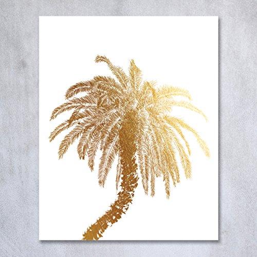 Metallic Palm Tree Table Decor (Palm Tree Gold Foil Decor Wall Art Print Island Tropical Art Metallic Poster 5 inches x 7 inches C21)