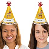 Custom Let's Fiesta - Personalized Cone Mexican Fiesta Happy Birthday Party Hats for Kids and Adults - Set of 8 (Standard Size)