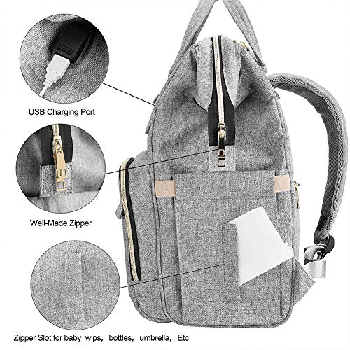 510%2B5TJb5VL Diaper Bag Backpack, Mokaloo Large Baby Bag, Multi-functional Travel Back Pack, Anti-Water Maternity Nappy Bag Changing Bags with Insulated Pockets Stroller Straps and Built-in USB Charging Port, Gray    Product Description