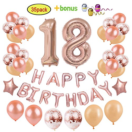 18th Birthday Decorations Party Supplies for Girls/Women | Rose Gold Birthday Party Ideas - Giant Number Foil Balloons + Rose Gold Confetti Balloons + Star Foil Balloon + Happy Birthday Balloon Banner