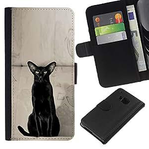 Oriental Shorthair Havana Black Cat - la tarjeta de Crédito Slots PU Funda de cuero Monedero caso cubierta de piel HTC One M7