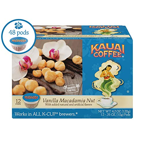 Kauai Coffee Single Serve Pods, Vanilla Macadamia Nut Flavor – 100% Premium Arabica Coffee from Hawaii's Largest Coffee Grower, Compatible with Keurig K-Cup Brewers - 48 Count