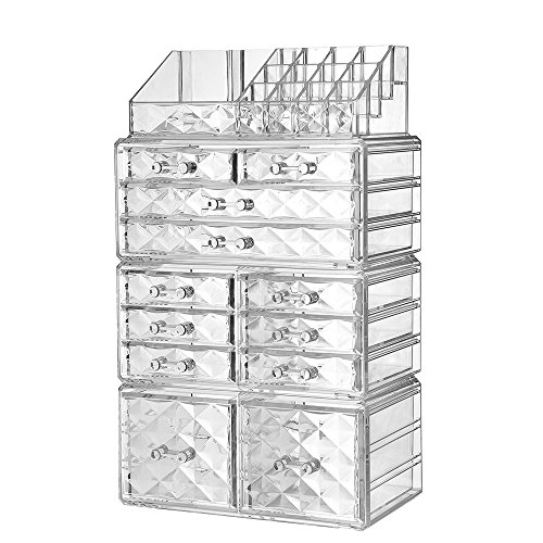 Pattern Diamond Bath Jewelry (ZHIAI Acrylic Jewelry Makeup Drawer Organizer - Diamond Pattern Clear Cosmetic Storage Set, 8 Small Drawers, 2 Large Drawers and 2 Square Drawers, Great for Bathroom, Dresser, Vanity and Countertop)