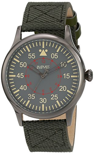 August Steiner Men's AS8125GN Black Swiss Quartz Watch with Gray Dial and Olive Green Canvas over Nubuck Leather Strap