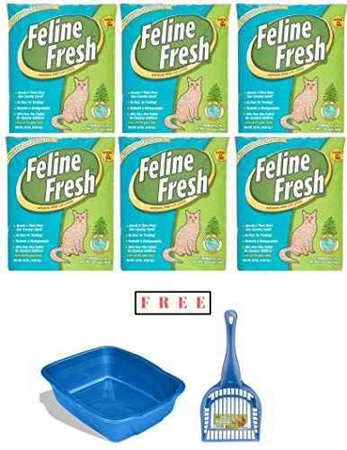 Feline Fresh Pack of 6 Natural Pine Cat Litter, 20 Lbs with Free ()