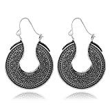 Women Vintage Bohemian Flower Carved Circle Heart Hoop Earring Ancient Silver Plated