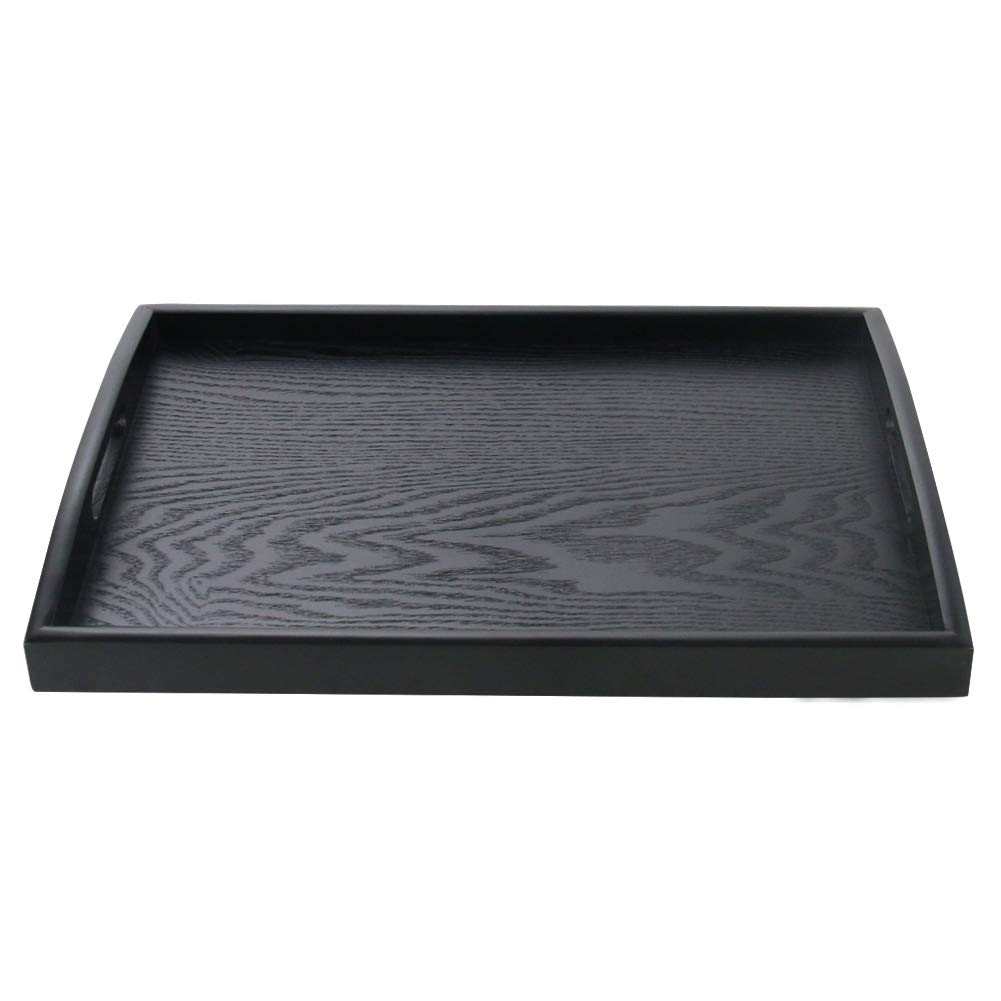 SILILUN Serving Tray Black Wood Tray Wooden Platter With Handle Easy Arrangement Breakfast Food Tray 15.7 x 11 x 1.57
