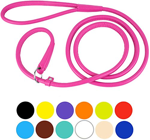 CollarDirect Leather Rolled Dog Leash 4ft or 6ft, Leather Slip Lead Dog Leash, Round Dog Leash, Slip Leash for Small dogs, Slip Collar Leash Medium Large Pink Black Brown (XS 6ft, Pink) (Round 4 Loops)