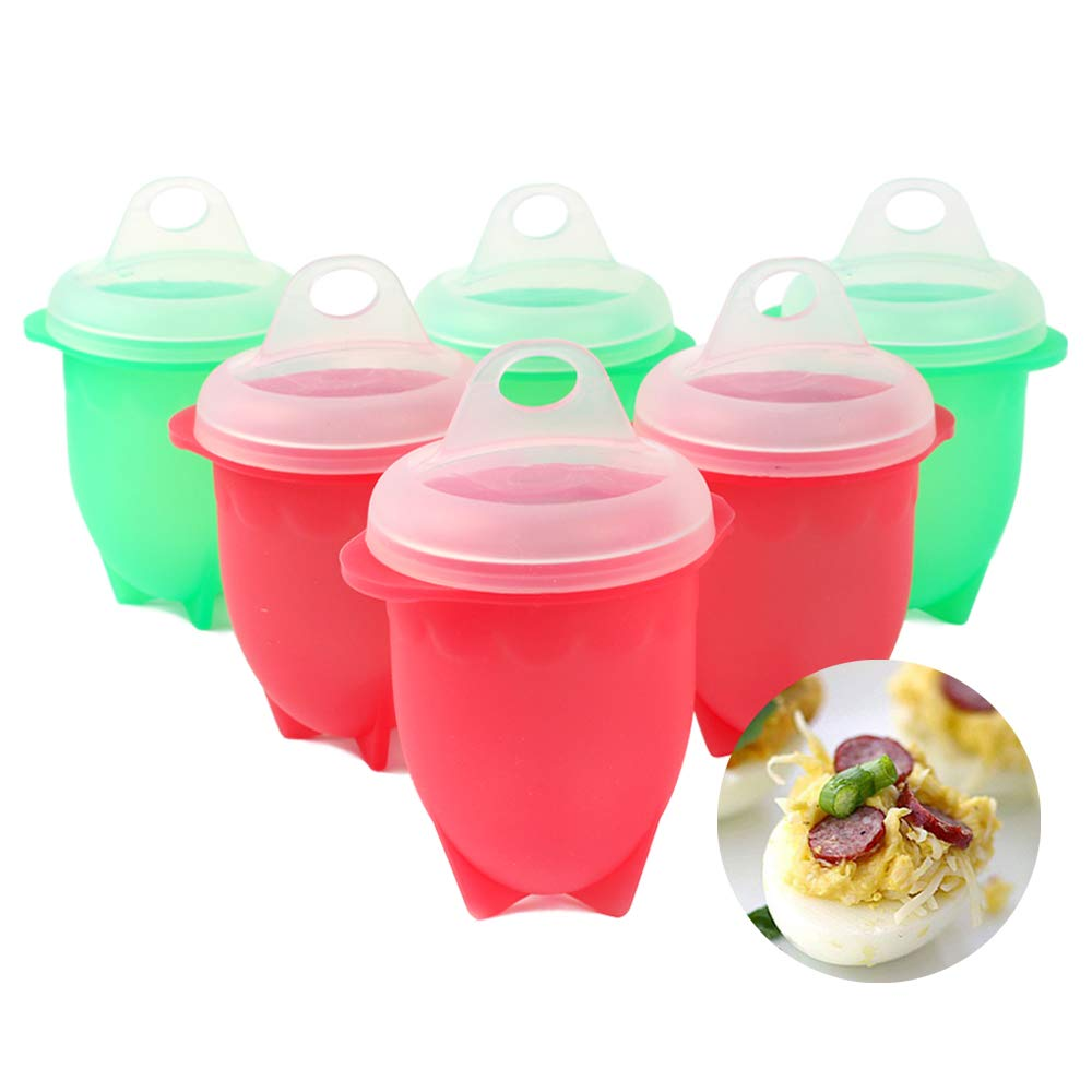 Microwave Egg Cooker 6 Pack, Boiled Egglettes as Seen on TV, Hard Boiled Eggs Without the Shell, Non Stick Silicone Egg, Poachers Hard&Soft Egg Cup