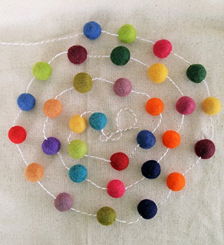 Felted Wool Rainbow Ball Garland ~ 6ft