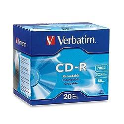 Verbatim Cd-r 700mb 80 Minute 52x Recordable Disc - 20 Pack Slim Case