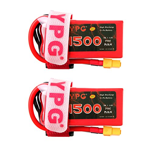 2 Pcs YPG 1500mAh 3S 11.1V 70C LiPo Battery with XT60 Plug for RC Mini Racing Drone FPV Quadcopter, Perfect For 210 Quad Frame, Eachine Wizard x220, 250 Racer, AR Drone 2.0, Walkera F210, etc.