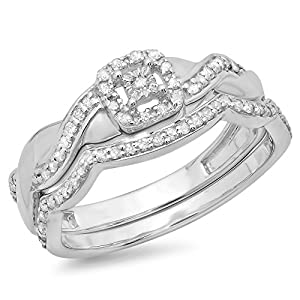 0.30 Carat (ctw) Sterling Silver Round Diamond Ladies Crossover Swirl Bridal Engagement Ring Set 1/3 CT
