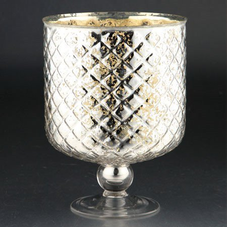 Price comparison product image Diamond Star 86423 10 x 8 in. Glass Hurricane Candle Holder44; Silver