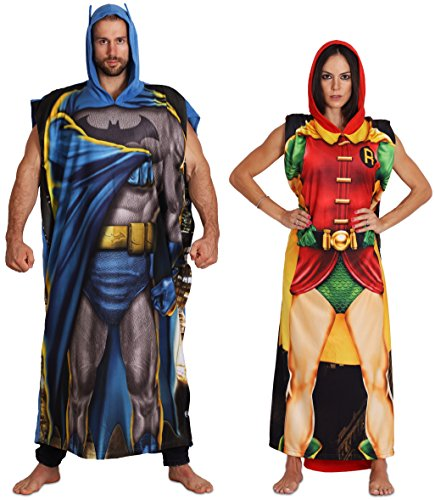 Easy Make Duo Halloween Costumes (DC Comics Dynamic Duo Batman and Robin Poncho Set Men)