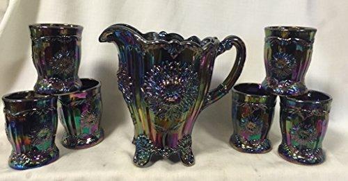 7 Piece Water Set Pitcher & 6 Tumblers - Dahlia or Chrysanthemum Pattern - Mosser USA - Black Amethyst Carnival (Mosser Carnival Glass)