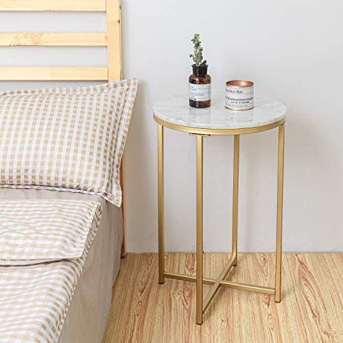 Round Side End Table with Marble Top&Gold Base, Modern Bedside Small Coffee Table for Bedroom Living Room, 16″ D 25″ H