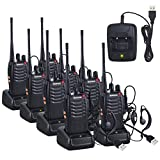 Walkie Talkies Neoteck 8 PCS Walkie Talkie Long Range 16 Channel 2 Way Radio UHF 400-470MHz Walky Talky Rechargeable with USB Charger Original Earpieces for Field Survival Biking Hiking