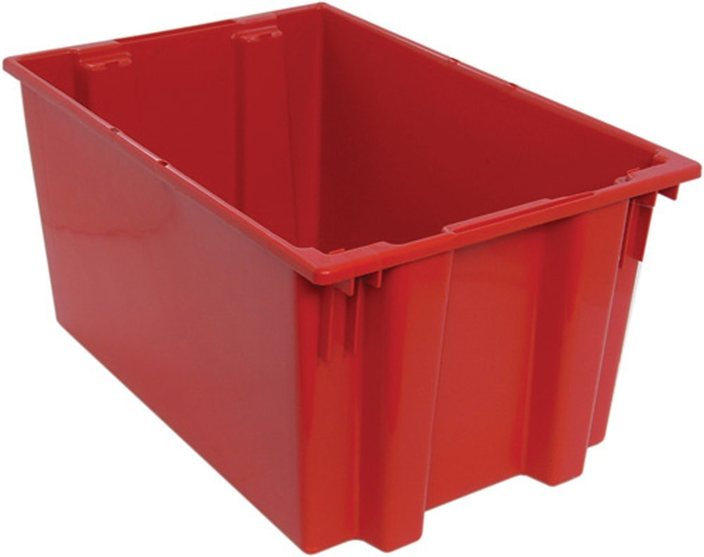 Quantum SNT300RD 29-1/2-Inch by 19-1/2-Inch by 15-Inch Stack and Nest Tote, Red, 3-Pack