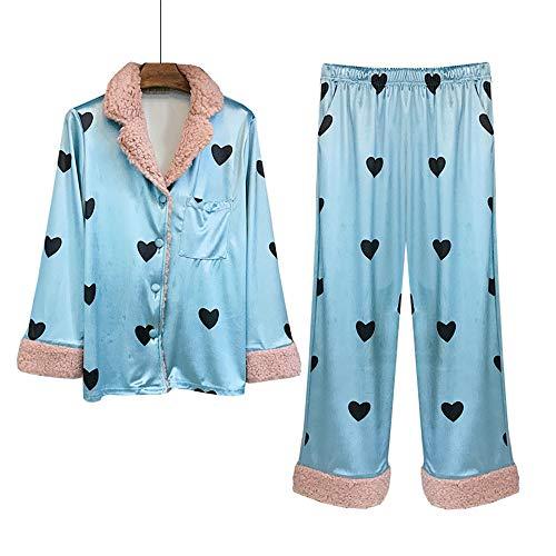 Cálido De Estampado Blue Conjunto Con Lujo Terciopelo Mmllse Hogar Pijama Mujer zI4Uw