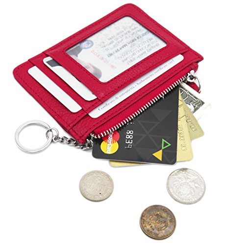 Zhoma RFID Blocking Genuine Leather Wallet - Credit Card Holder with Key Ring and ID Window - Rose