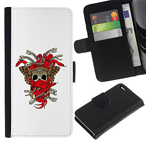 UNIQCASE - Apple Iphone 4 / 4S - Tribal Skull Weapon Crest - Cuir PU Coverture Shell Armure Coque Coq Cas Etui Housse Case Cover