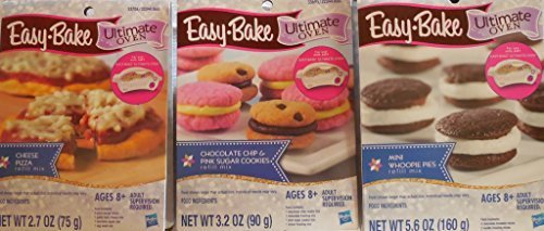 Easy-Bake Ultimate Oven Refill Mixes - One (1) Mini Whoopie Pies - One (1) Chocolate Chip & Pink Sugar Cookies & One (1) Cheese Pizza